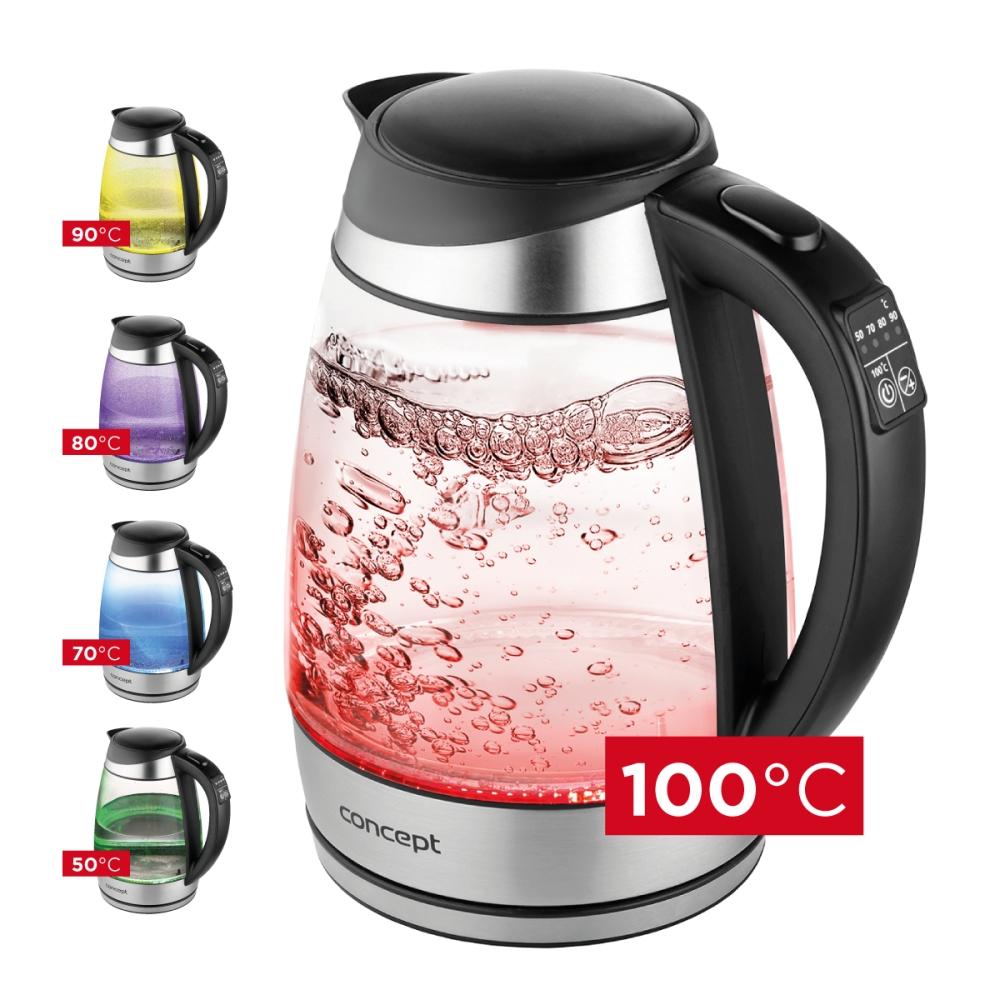 Malé spotřebiče - CONCEPT RK4120 Rychlovarná konvice skleněná 1,7 l s nastavením teplot
