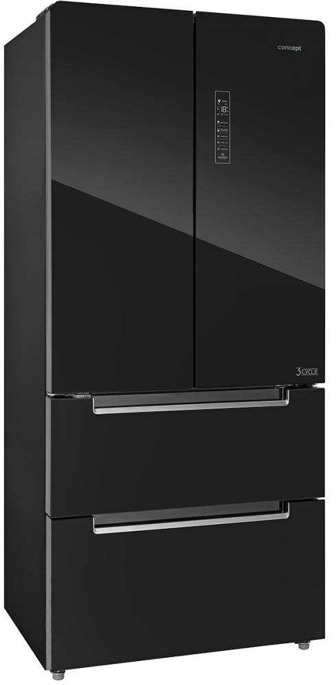 Velké spotřebiče- ledničky,pračky... - CONCEPT LA6983bc Česká Amerika, Volně stojící kombinovaná chladnička s mrazničkou BLACK